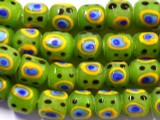 Lime Green w/Blue Polka Dots Glass Beads 10mm (JV830)