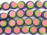 Purple, Green & Pink Resin Beads 14mm (RES471)