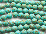 Turquoise Magnesite Carved Round Gemstone Beads 11mm (GS2652)