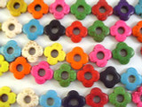 Multi-Color Howlite Flower Beads 8mm (GS2657)