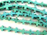 Turquoise Howlite Cross Gemstone Beads 11mm (GS2662)