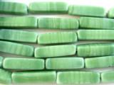 Celadon Green Rectangular Block Recycled Glass Beads - Indonesia 30mm (RG533)