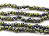 Cobalt Blue & Lime Green Glass Beads 9mm (JV902)