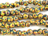 Forest Green w/Yellow Polka Dots Glass Beads 10mm (JV903)