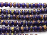 Cobalt Blue w/Yellow & Red Glass Beads 10mm (JV904)