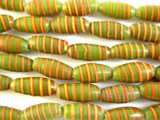 Olive Green w/Stripes Glass Beads 13mm (JV908)