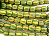 Green & Yellow Round Glass Beads 11mm (JV863)