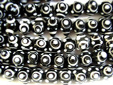 Black & White Horn Eye Glass Beads 10mm (JV864)