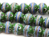 Green 'Eye' Round Glass Beads 13mm (JV915)