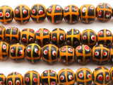 Orange w/Black & Red Glass Beads 12mm (JV882)