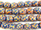 Blue w/Red & Yellow Polka Dots Glass Beads 15mm (JV885)