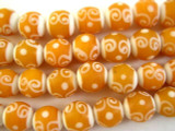 White & Orange Swirl Glass Beads 12mm (JV889)