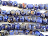 Cobalt Blue w/Polka Dots Glass Beads 10mm (JV899)