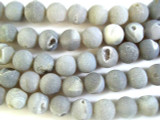 Grey Frosted Agate Gemstone Beads w/Druzy 12mm (GS2678)