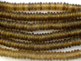 Pale Brown Donut Recycled Glass Beads - Africa 10mm (RG542)