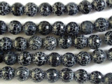 Black Faceted Round Fire Agate Gemstone Beads 13mm (GS2692)