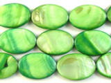 Green Oval Tabular Shell Beads 30mm (SH466)