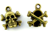 Brass Skull & Crossbones - Pewter Pendant 13mm (PW1118)