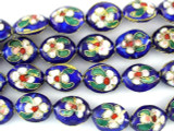 Cloisonne Beads - Cobalt Blue Oval 14mm (CS246)