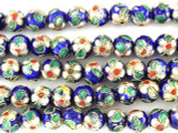 Cloisonne Beads - Cobalt Blue Round 7mm (CS249)