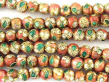 Cloisonne Beads - Peach & Pink Round 5mm (CS250)
