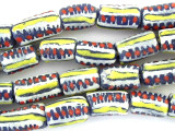 Blue, Yellow, Red & White Painted Sandcast Beads 15mm (SC857)