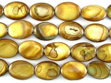 Golden Oval Tabular Shell Beads 18mm (SH478)