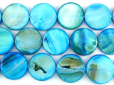 Turquoise Round Tabular Shell Beads 18mm (SH479)