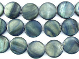 Blue/Gray Round Tabular Shell Beads 19mm (SH481)