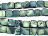 Blue/Gray Square Tabular Shell Beads 9mm (SH482)