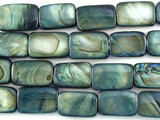 Blue/Gray Rectangular Shell Beads 14mm (SH484)