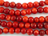Red Bamboo Coral Round Beads 6-8mm (CO524)