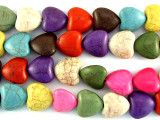 Muti-Colored Magnesite Heart Beads 14mm(GS3024)