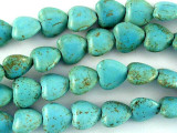Turquoise Magnesite Heart Gemstone Beads 11mm (GS3025)