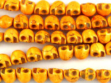 Orange Magnesite Skull Gemstone Beads 9mm (GS3027)