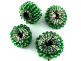 Green Beaded Felt Donut - Afghanistan 18mm (AF1379)