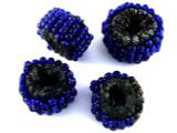 Cobalt Blue Beaded Felt Donut - Afghanistan 19mm (AF1389)