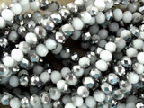Metallic and White Crystal Glass Beads 4mm (CRY61)