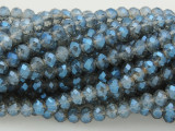 Blue & Clear Crystal Glass Beads 6mm (CRY79)