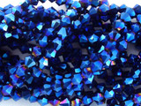 Metallic Blue Crystal Glass Beads 4mm (CRY34)