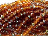 Orange with Green Crystal Glass Beads 4mm (CRY46)