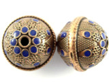 Large Copper & Blue Enamel Bead 30mm (MB30)