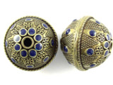 Large Brass & Blue Enamel Bead 30mm (MB33)
