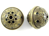 Large Brass & Black Enamel Bead 30mm (MB34)