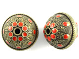 Large Brass & Red Enamel Bead 30mm (MB35)
