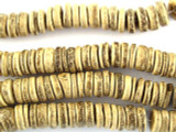 Coconut Wood Light Rondelle Beads 10mm - Indonesia (WD851)