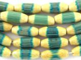 Emerald Green Ellipsoid Bamboo Wood Beads 16mm (WD854)