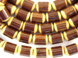 Brown Barrel Bamboo Wood Beads 10mm (WD855)