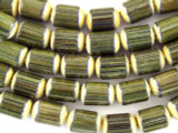 Olive Green Barrel Bamboo Wood Beads 10mm (WD856)