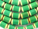 Green Barrel Bamboo Wood Beads 10mm (WD858)
